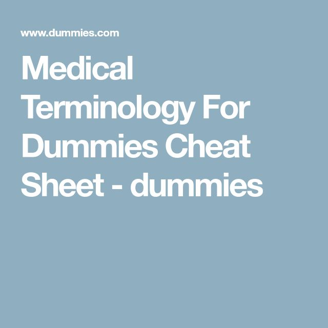 medical terminology for dummies free pdf