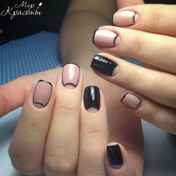 Unexpected turn is applied in this moonlight french manicure: the dominant color of