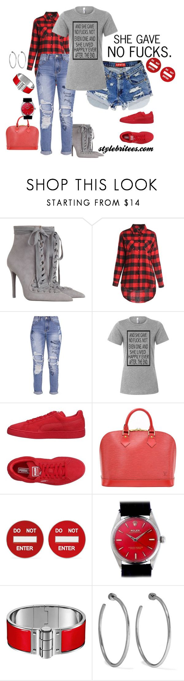 """""""SHE GAVE NO FCKS"""" by stylebritees on Polyvore featuring Zimmermann, Levi's, Puma, Louis Vuitton, Moschino, Rolex and Jennifer Fisher"""