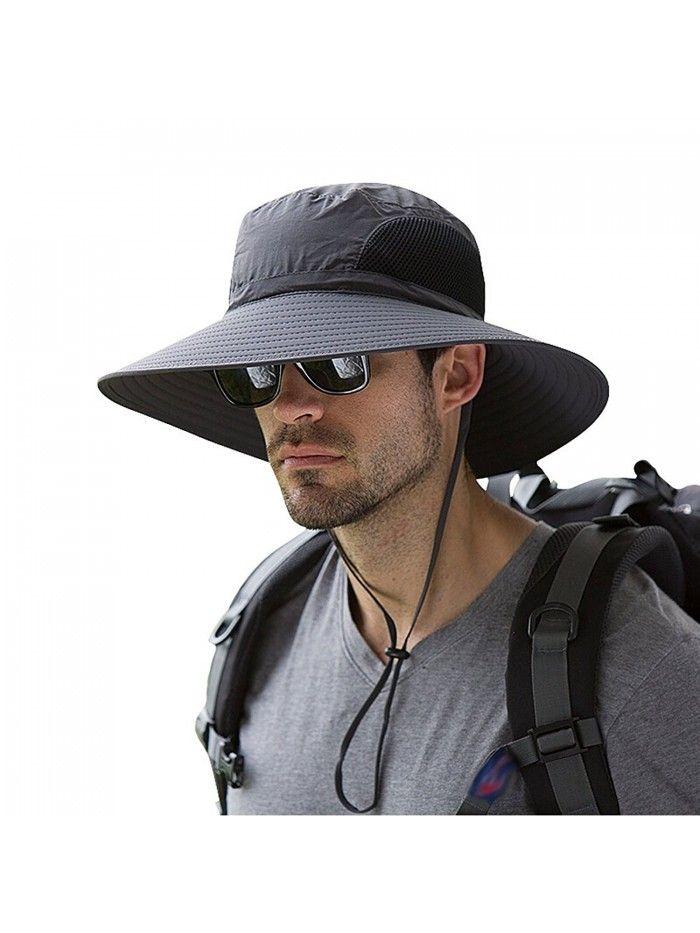 Waterproof Sun Hat Outdoor Uv Protection Bucket Mesh Boonie Hat Adjustable Fishing Cap Dark Gray Cy184rmtwx3 Mens Sun Hats Wide Brim Sun Hat Wide Brim Hat Men
