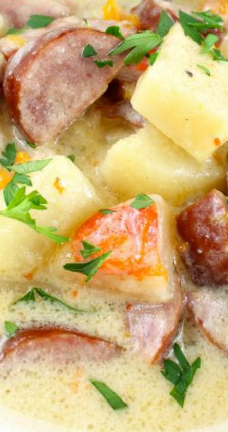 Slow Cooker} Cheesy Smoked Sausage and Idaho Potato Soup Recipe ~ Comforting and delicious