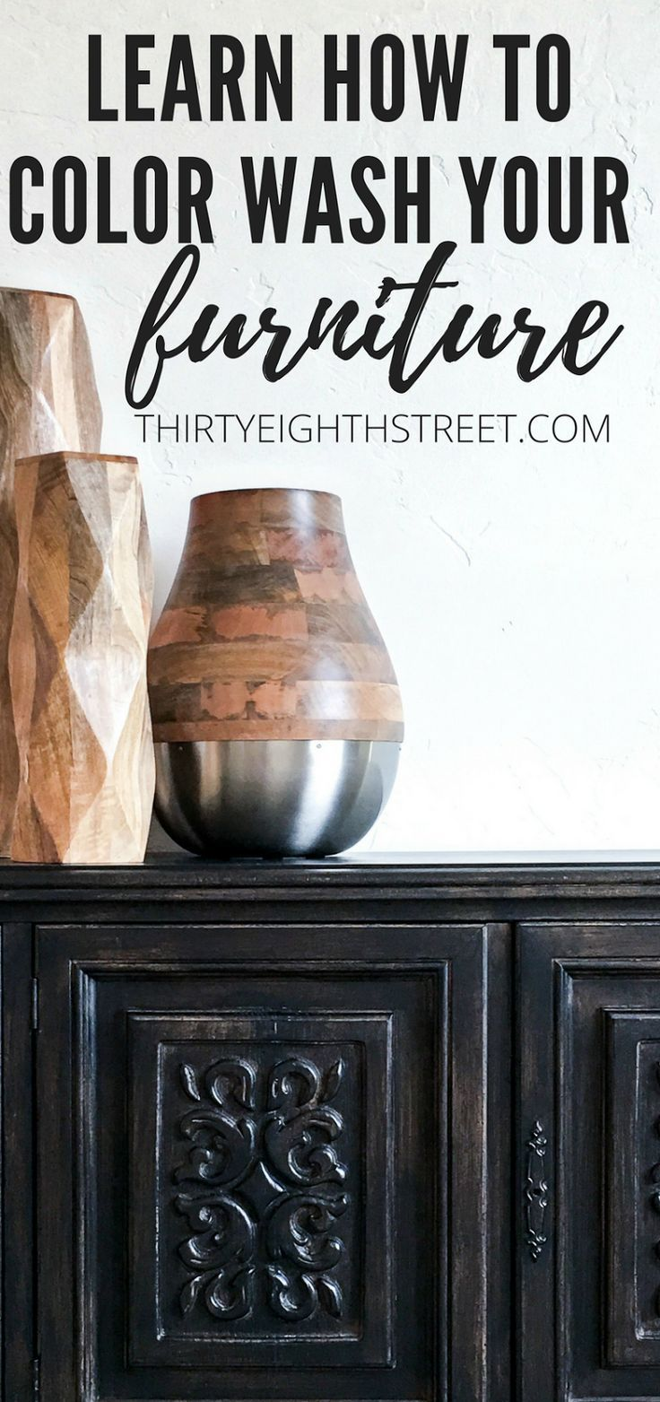 Learn How To Stain Wood Furniture Using An Easy Paint Color Wash Technique! Colorwashing furniture adds texture, depth and natural paint layers to the finish! | Thirty Eighth Street
