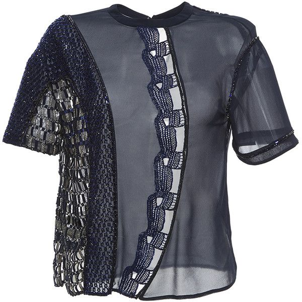 Versace     Embellished Crew Neck Blouse ($8,850) ❤ liked on Polyvore featuring tops, blouses, navy, short sleeve tops, short-sleeve blouse, blue blouse, navy top and navy blouse