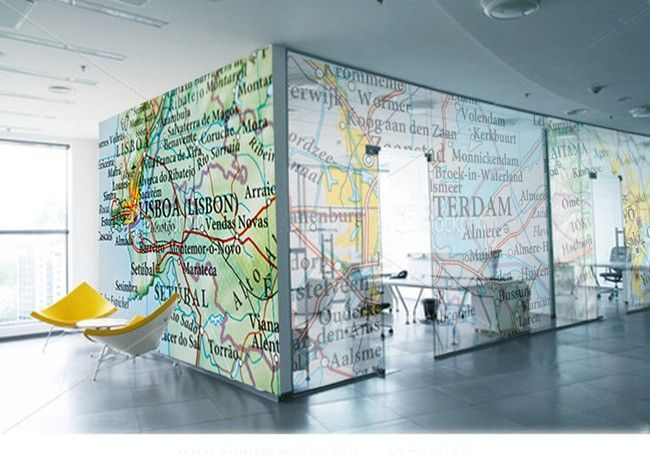 Regular decal on wall, translucent on glass fgp concept for glass partitions