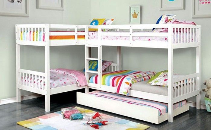 Cm Bk904wh Harriet Bee Lyme Quadruple Twin Bed Twin Twin Over Twin Twin White Finish Wood Bunk Bed Bunk Bed With Trundle Twin Bunk Beds Wood Bunk Beds