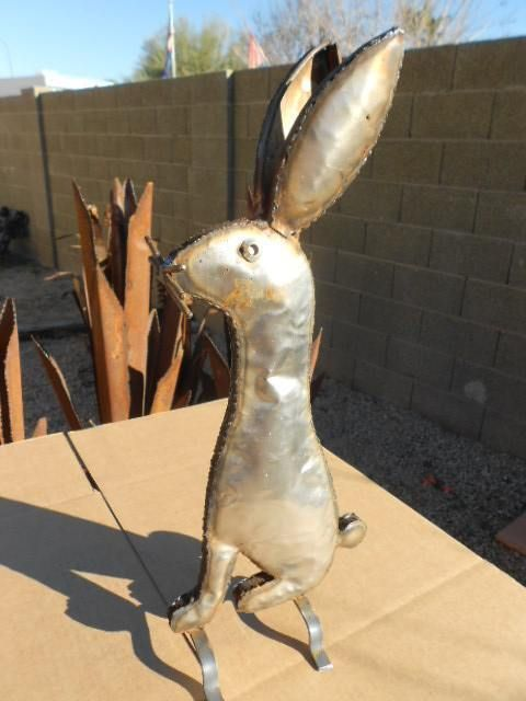 Metal RABBIT Landscape Yard Decor Art Southwest Mexican Pottery Jackrabbit