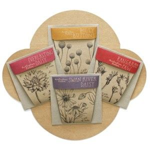 This gift set comes in a recycled kraft package and contains four beautifully illustrated envelopes with seeds: Swan River Daisy, Billy Button, Everlasting Daisy, Kangaroo Paw.
