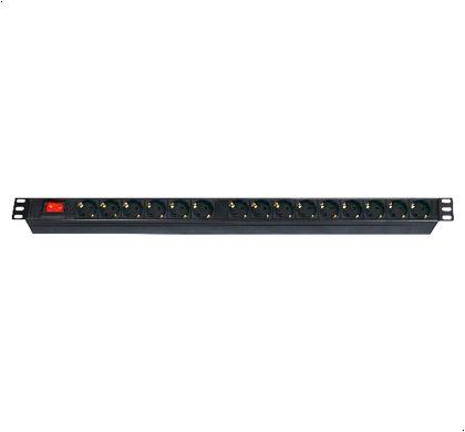 """PDU Stekkerdoos 15-voudig, met schakelaar, 2m kabel, voor 19"""" rack, Zwart 66,15€"""