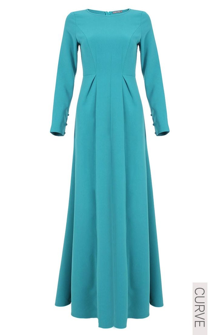 CURVE Carley Multi Panel Jubah Dress - Deep Aqua
