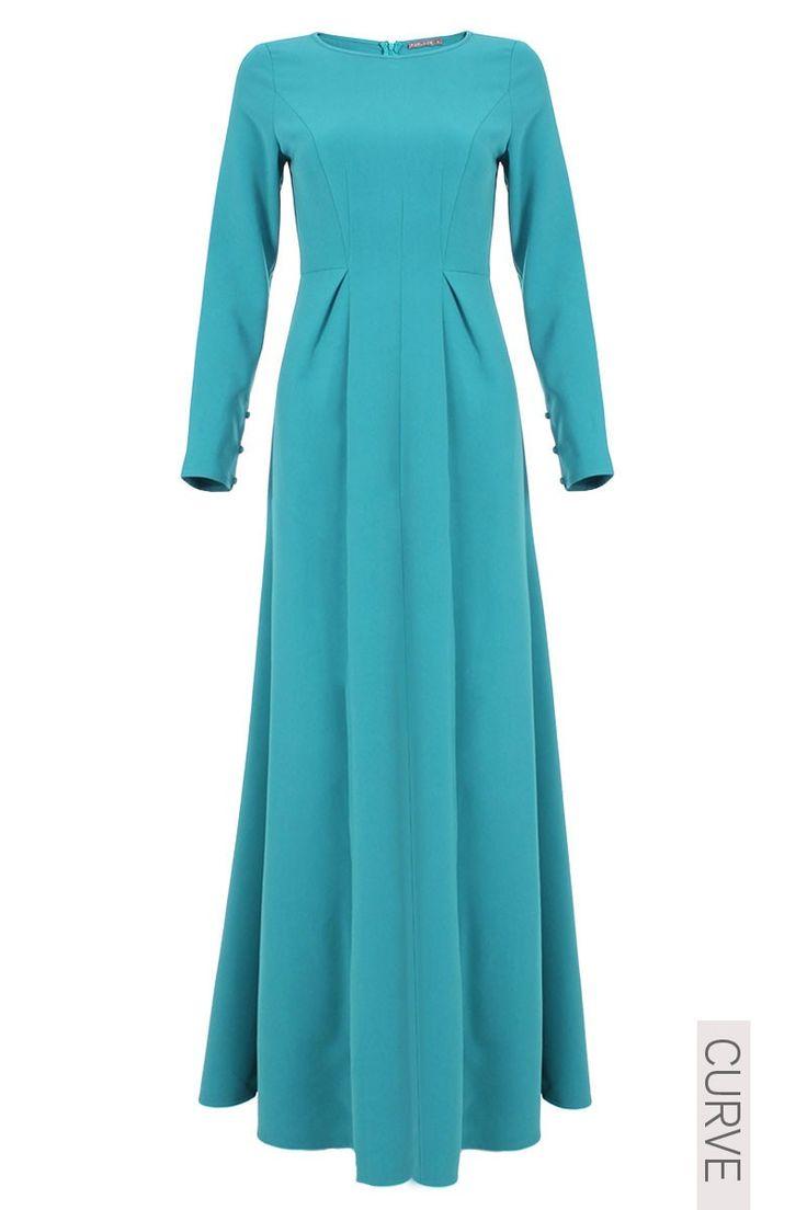 CURVE Carley Multi Panel Jubah Dress - Deep Aqua