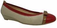 Hispanitas Wedge 37452 has a small leather covered wedge with an elasticated top stitch line that hugs your foot for a great fit.     37452 is available in red with a neutral body, contrast red toe and a camel bow. The blue version comes with a neutral body and contrast blue bow and elastic top stitch line.     Heel - 2.5cm.