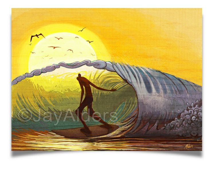 Best Creative Surf Illustration Images On Pinterest Surf - Artist paints incredible seaside murals balanced on surfboard