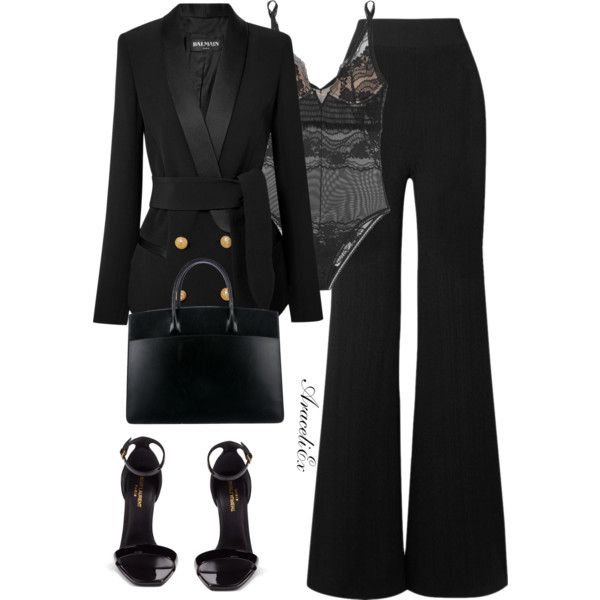 A fashion look from January 2018 featuring Balmain blazers, Balmain pants and Yves Saint Laurent sandals. Browse and shop related looks.