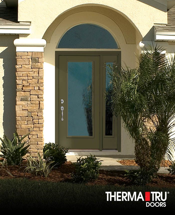 Therma Tru Smooth Star Fiberglass Door Painted Palm Leaf With Clear Glass.