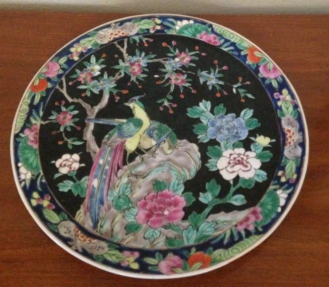 Antique Nippon Black Noir 11 Quot Plate Enamel Peacock Birds