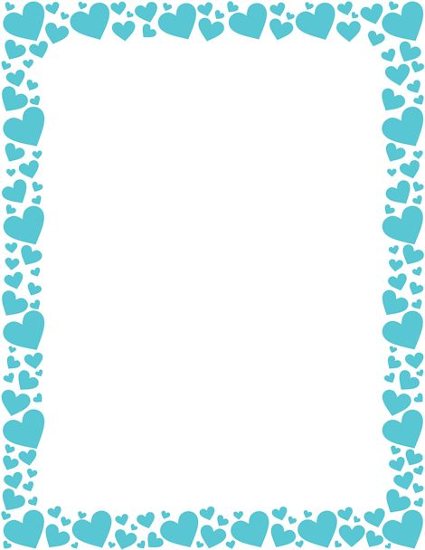 Printable blue heart border. Free GIF, JPG, PDF, and PNG downloads at http://pageborders.org/download/blue-heart-border/