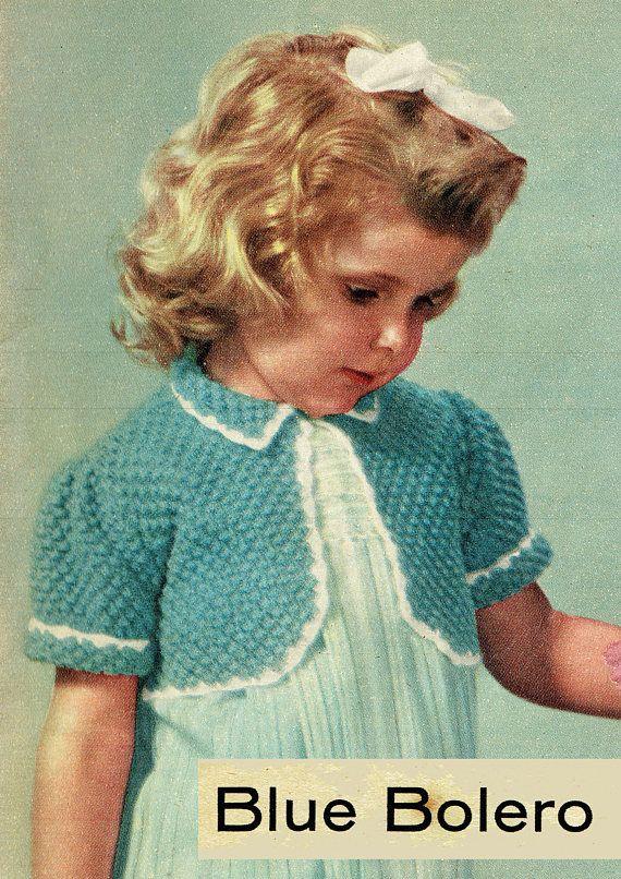 PDF Vintage 1950s Baby Girl Peter Pan Bolero Knitting Crochet