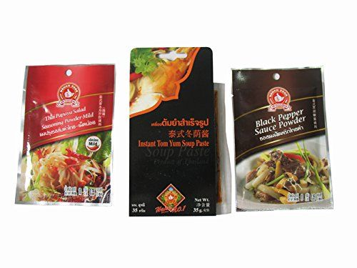Pack of 3 Instant Tom Yum Soup Paste Net Wt 35g Thai Papaya Salad Seasoning Powdermild Net Wt 10g Black Pepper Sauce Powder Net Wt 10g ** More info could be found at the image url.Note:It is affiliate link to Amazon.
