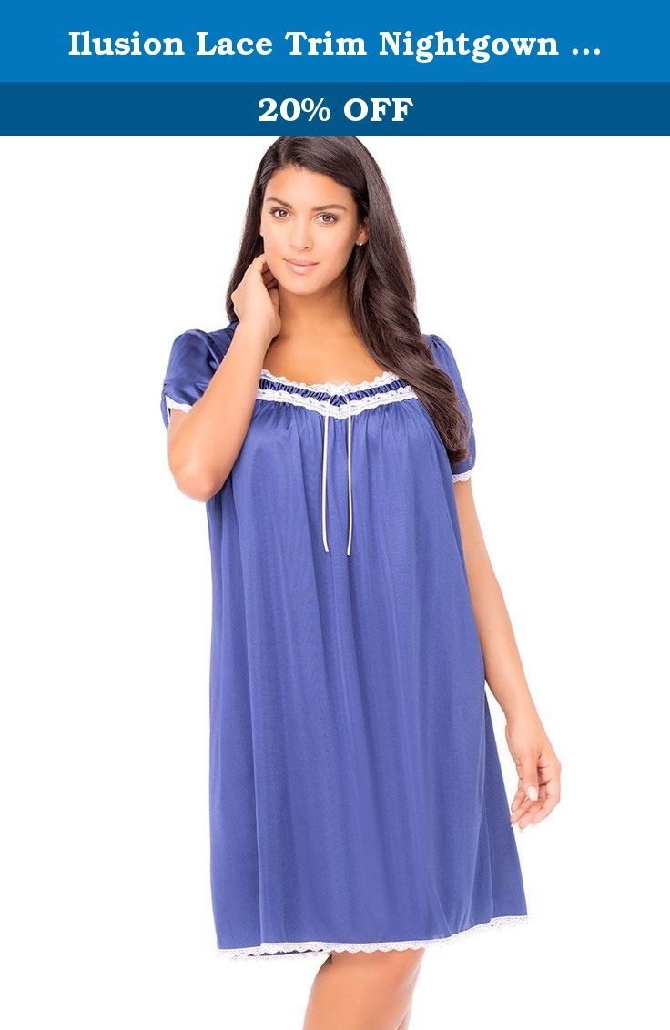 Ilusion Lace Trim Nightgown Indigo XLarge. Pretty nightgown with open neckline trimmed with lace. Pullover styling. Short sleeves. Anti-static. 100% nylon. Made in Mexico. Machine wash.