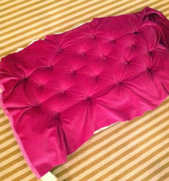 how to make a headboard out of fabric with buttons