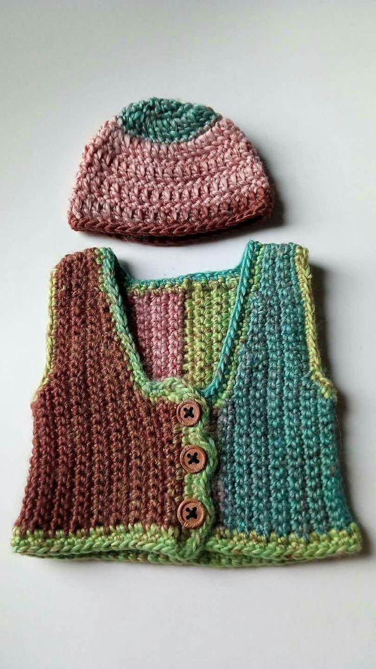 Crochet vest and hat set