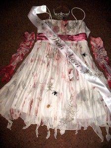 homemade prom queen zombie costume | OOAK Custom Zombie Walking Dead Corpse Prom Queen Costume Lot Size L ...