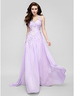 TS Couture® Formal Evening Dress A-line Jewel Court Train Chiffon / Tulle with Appliques / Side Draping / Ruching – USD $ 470.00