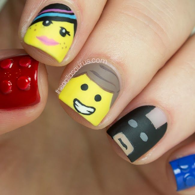 With the release of the Lego movie and my childhood love for Lego it only seems appropriate to try this nail art design!