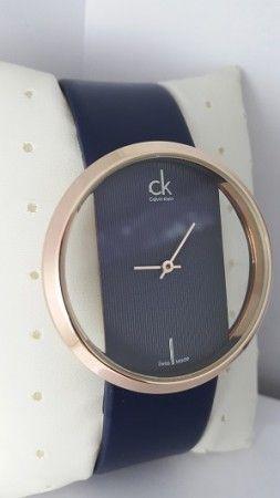 Calvin Klein Blue Leather Swiss Quartz Watch with Golden Dial  www.fashiongroop.com