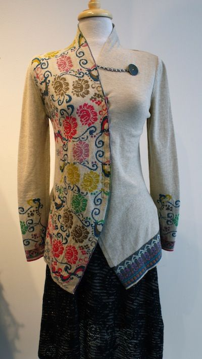 Nice idea for using two different pieces of fabric (thrift store clothing?)  and combining into one new piece.