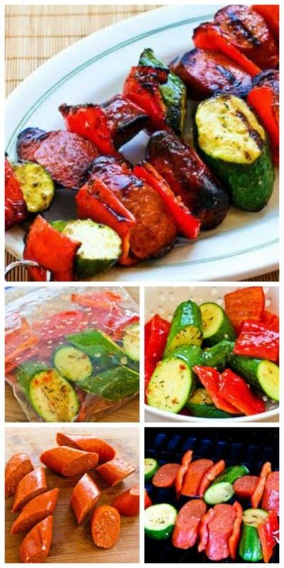 Ease into summer grilling with this recipe for the World's Easiest Grilled Zucchini and Sausage Kabobs; you can use pork, beef, chicken, or turkey sausage.  [from Kalyn's Kitchen] #Grilling #Kabobs #Low-Carb