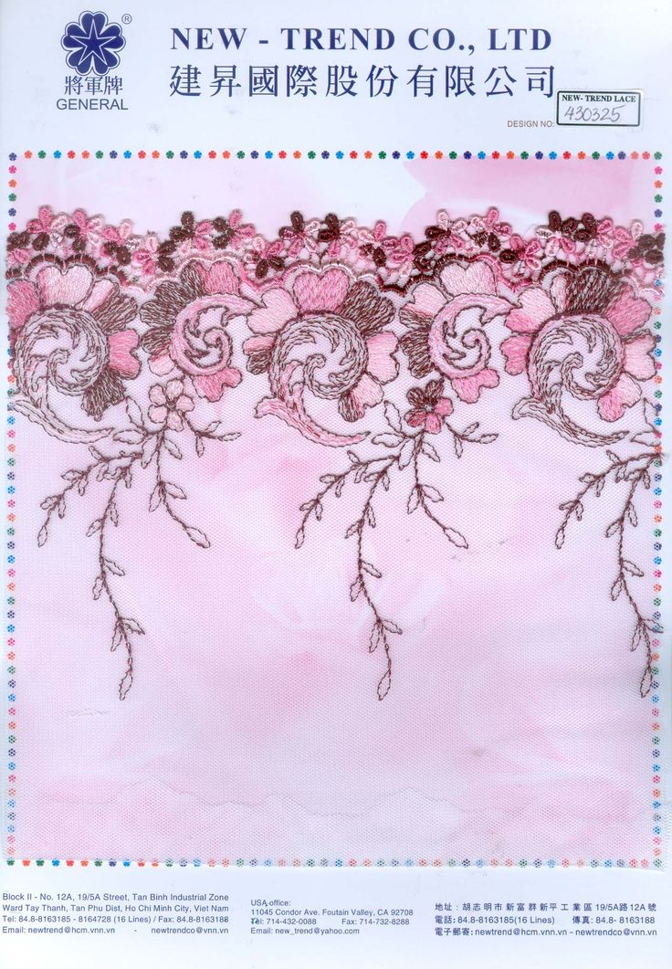 # 430325  New-Trend Co., Ltd. Lace & Embroidery with the Vietnamese touch
