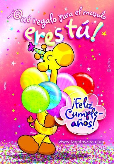 Girafa Vera con globos de cumpleaños © ZEA www.tarjetaszea.com