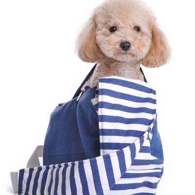 Soft Sling Dog Carrier Bag :: Blue.  This soft canvas sling dog carrier purse is perfect for taking your furry best friend out on the town!