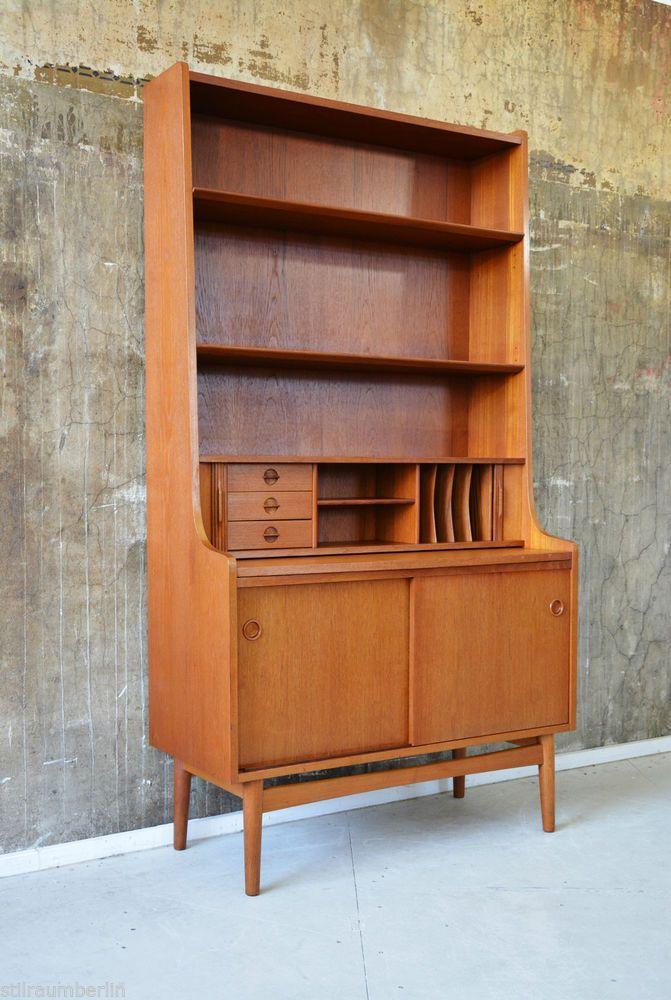 60er teak highboard kommode sekret r regal danish design 60s cabinet shelf chest design. Black Bedroom Furniture Sets. Home Design Ideas