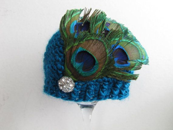 RTS unique newborn / 0-3 months teal crochet baby hat with peacock feathers and vintage style crystal button by StarrMommy, $21.50