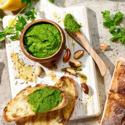 No one can resist fresh pesto on some crusty bread. Leave it out for the first guests while you finish the rest. Shot by Steve Krug