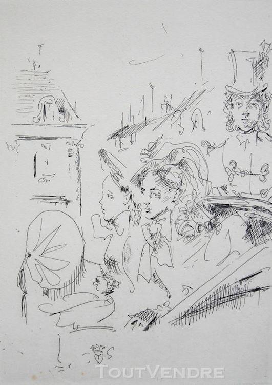 Gravure Originale Bérard Personnages Eau-forte 1945 1