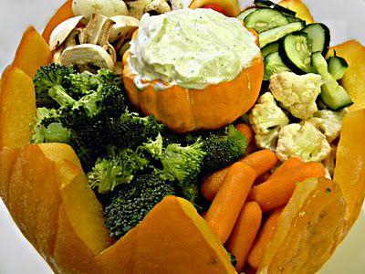 Carved Pumpkin for Veggies & Dip