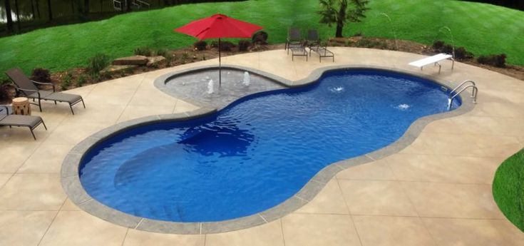 Swiming Pools In Ground Pumps With Red Pool Umbrella Also Diving Board And Metal Pool Loungers Ideas Besides Hand Rails  In Ground Pool Steps  Fiberglass In Ground Pools  In Ground Pool Liner  Patio Decoration   Stylish Fiberglass in Ground Pools