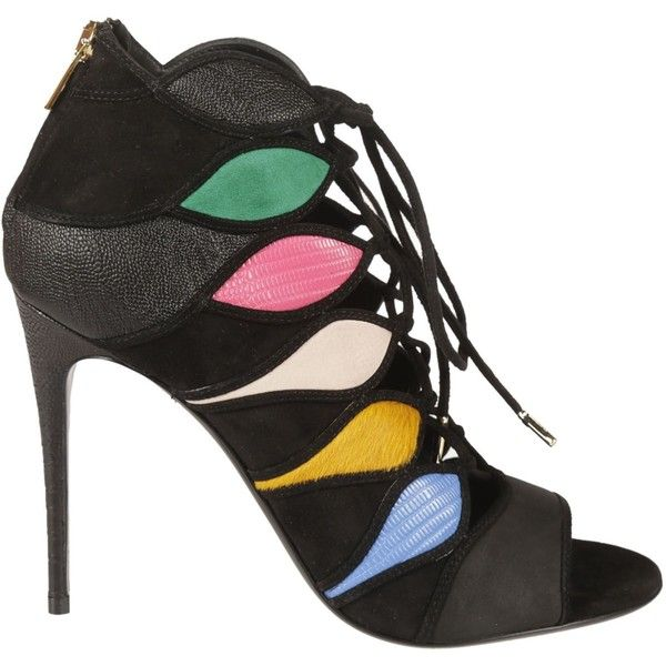 Patchwork Lace Up Sandals ($368) ❤ liked on Polyvore featuring shoes, sandals, black, womenshoessandals, black shoes, salvatore ferragamo shoes, black lace up shoes, high heeled footwear and multi color sandals