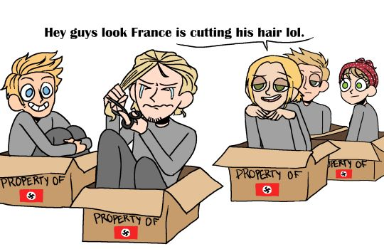 France would like cry into the remains of his hair that he'd cut off and everyone would be like wtf