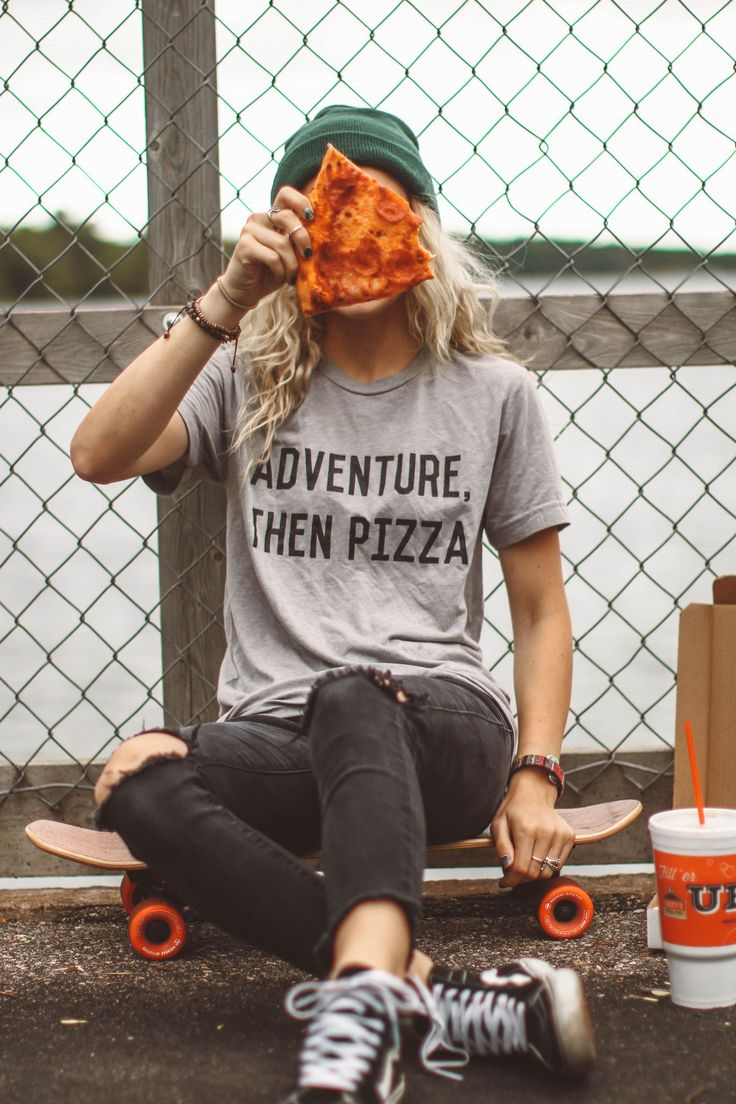 "Adventure, then pizza! Sounds like a perfect plan to us. Unisex, gray triblend tee, women may prefer to order one size down. Leanne is 5'4"" and wearing size small. Hailey is wearing a Medium Size ques"