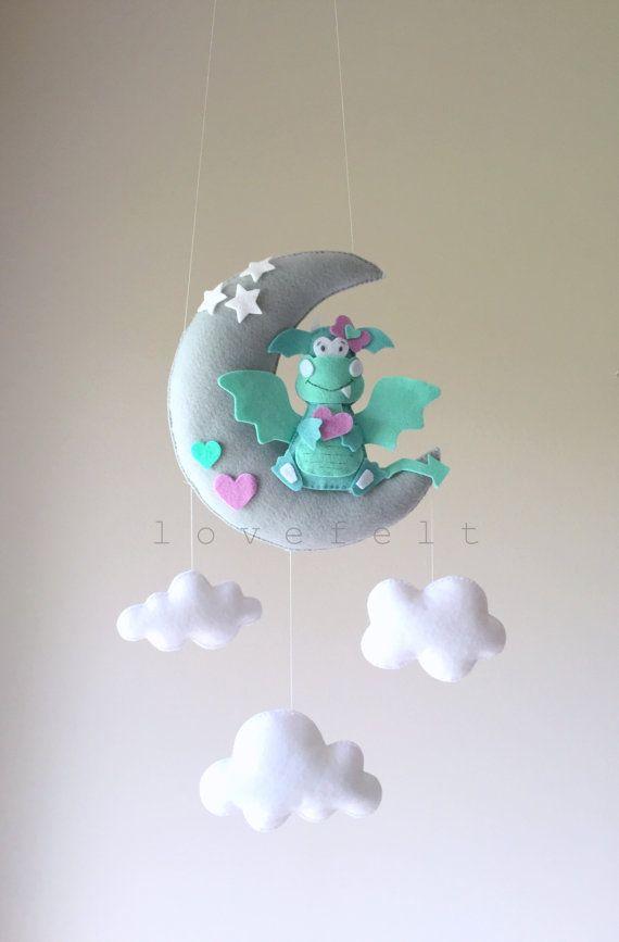 Baby mobile - dragon mobile - baby mobile dragon - fairytale mobile - moon mobile