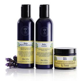 Baby Collection by Neal's Yard Remedies/NYR Organic - all-natural, gentle, petroleum-free shampoo, lotion, and special balm, just for baby.  Soothing organic ingredients like olive oil, coconut oil, shea butter, and beeswax.