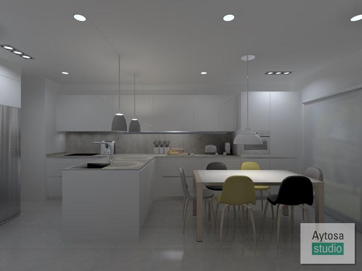Cocinas SANTOS | Modelo  LINE-L  Seda blanco. Proyecto realizado por Aytosa studio para una casa situada en el barrio de Las Vaguadas de Badajoz.