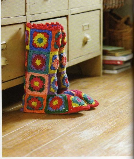 Boots made of granny squares. I can't read the directions because they are not in English but the picture gives me an idea.