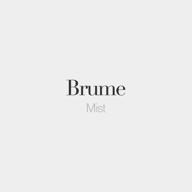 Brume (feminine word) Mist