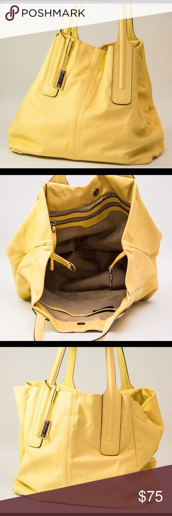 """ABRO European Genuine Leather Bag Absolutely stunning yellow handbag, in excellent condition! ABRO is a European brand, crafting everything from bags to watches. This hobo-style bag can be worn multiple ways, and holds a ton! Don't miss your opportunity to own this perfect Spring accessory! Measures 17.5"""" L (not clasped) x 7.5"""" W x 11.5"""" D with 9"""" handle drop. Abro Bags Hobos"""
