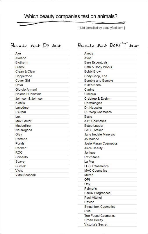 I wont buy these products manufactured by these companies. I think it `s cruel.